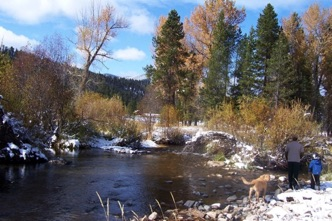 First snow on river