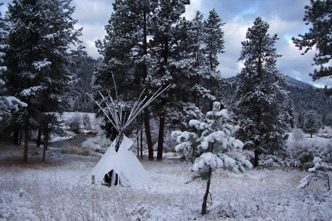 Tepee in snow